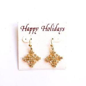 Gold tone holiday earrings